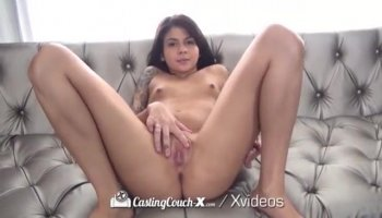 Fiery redhead Entice seduces her man in her dorm room with a hot blowjob and a stiffie ride in